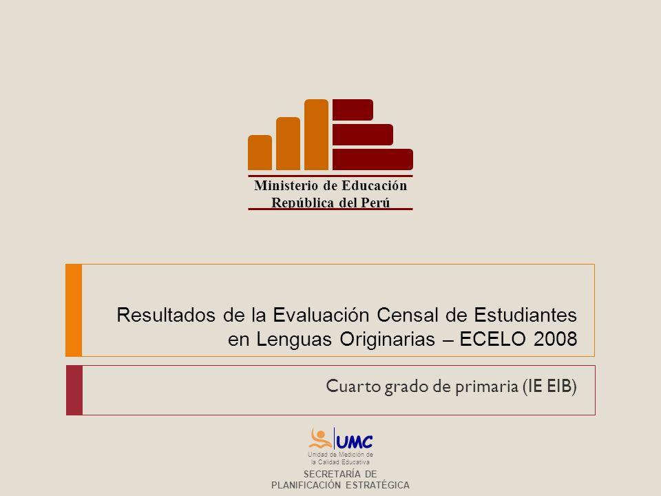 Resultados de la Evaluación Censal de Estudiantes en Lenguas Originarias – ECELO 2008 Cuarto grado de primaria (IE EIB) Ministerio de Educación Repúbl