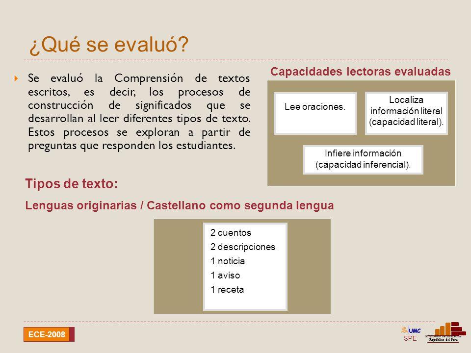 SPE Ministerio de Educación República del Perú ECE-2008 ¿Qué se evaluó? Se evaluó la Comprensión de textos escritos, es decir, los procesos de constru