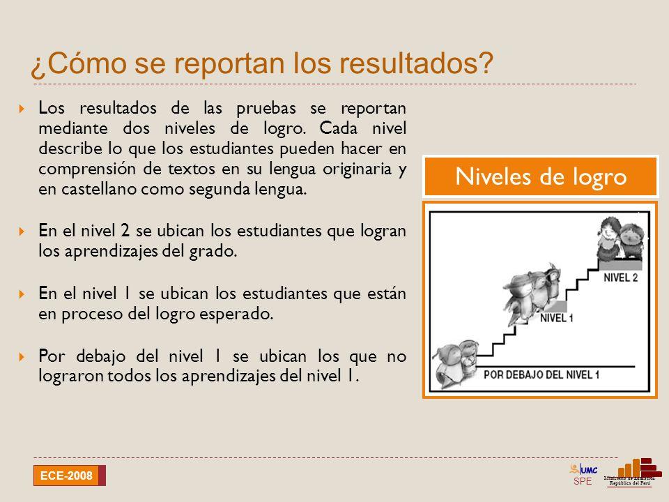 SPE Ministerio de Educación República del Perú ECE-2008 Resultados de la evaluación