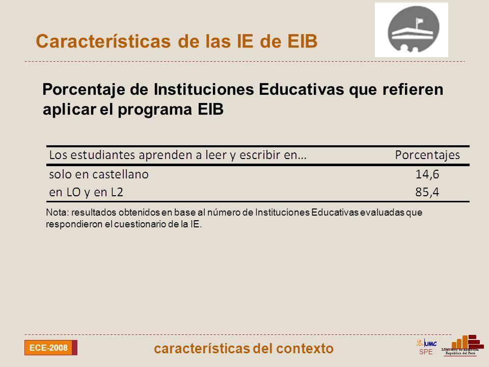 SPE Ministerio de Educación República del Perú ECE-2008 Porcentaje de docentes, según el dominio de la lengua originaria de la comunidad Características de los docentes características del contexto Nota: resultados obtenidos en base al número de Instituciones Educativas evaluadas que respondieron el cuestionario de la IE.