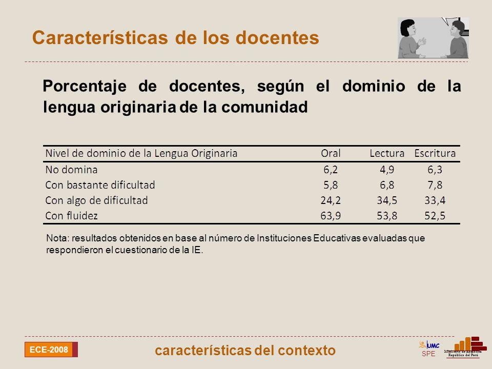 SPE Ministerio de Educación República del Perú ECE-2008 Características de los docentes Respecto al dominio de la lectura en la lengua originaria por parte del docente Nota: resultados obtenidos en base al número de Instituciones Educativas evaluadas que respondieron el cuestionario de la IE.