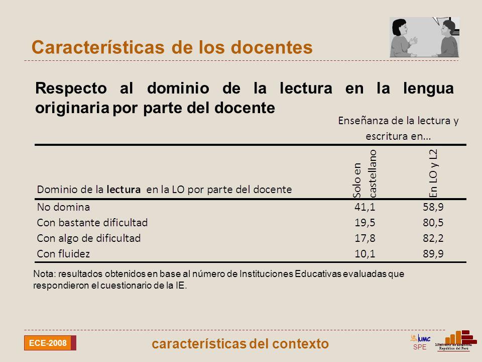 SPE Ministerio de Educación República del Perú ECE-2008 Características de los docentes Respecto al dominio de la escritura en la lengua originaria por parte del docente Nota: resultados obtenidos en base al número de Instituciones Educativas evaluadas que respondieron el cuestionario de la IE.