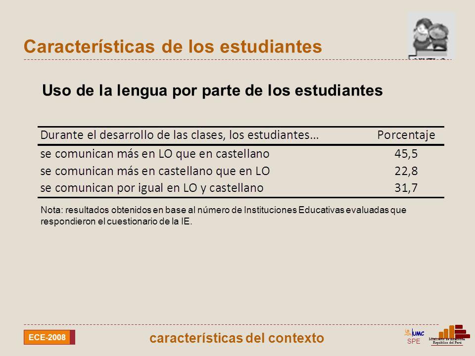 SPE Ministerio de Educación República del Perú ECE-2008 Características de los estudiantes Uso de la lengua de los estudiantes para aprender a leer y escribir y para comunicarse Nota: resultados obtenidos en base al número de Instituciones Educativas evaluadas que respondieron el cuestionario de la IE.