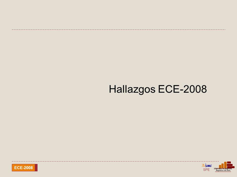SPE Ministerio de Educación República del Perú ECE-2008 Hallazgos de la ECELO 2008 En relación con los logros de aprendizaje en lengua originaria: La gran mayoría de los estudiantes evaluados de cuarto grado de las IE EIB evidencia serias dificultades en el desarrollo de las capacidades lectoras en la lengua originaria.