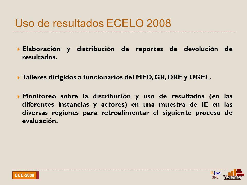 SPE Ministerio de Educación República del Perú ECE-2008 Informes de resultados 37 Dirigido a los distintos agentes educativos (gobierno central, gobiernos regionales, institución educativa, sociedad civil, etc.) puedan tomar decisiones para la mejora de los aprendizajes.