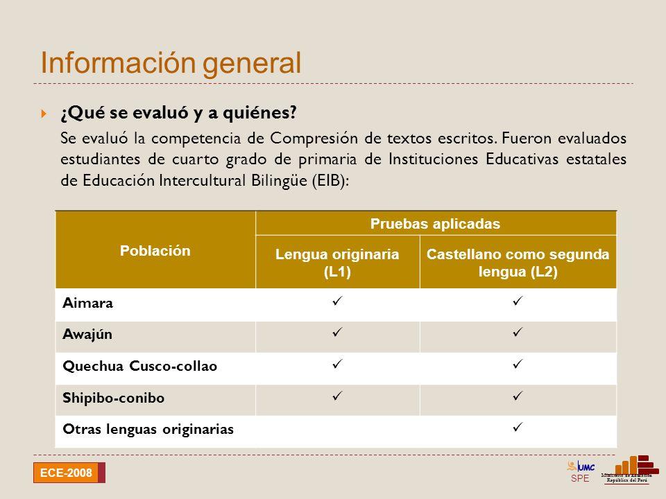 SPE Ministerio de Educación República del Perú ECE-2008 Información general 5 ¿Por qué se evaluó cuarto grado.