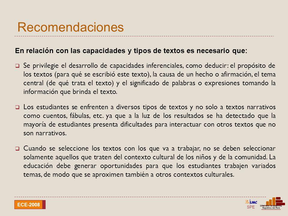SPE Ministerio de Educación República del Perú ECE-2008 Recomendaciones Es muy importante que: Se propicie en todo momento un clima de respeto y afecto en el aula.