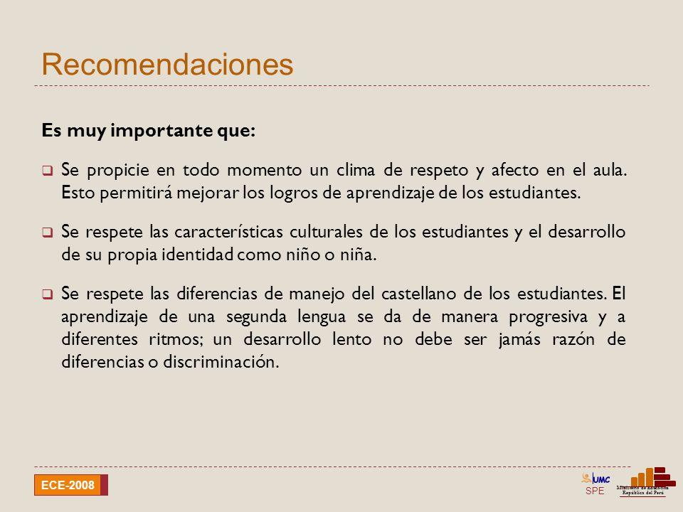 SPE Ministerio de Educación República del Perú ECE-2008 Recomendaciones Es muy importante que: Se propicie en todo momento un clima de respeto y afect