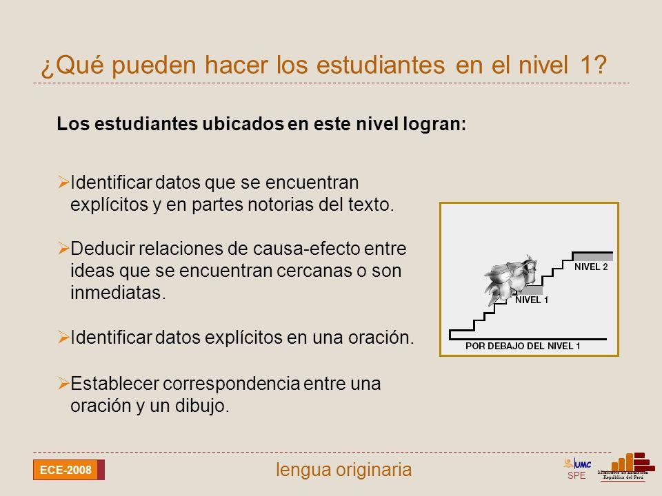 SPE Ministerio de Educación República del Perú ECE-2008 lengua aimara Ejemplo de lo que pueden hacer en el nivel 1
