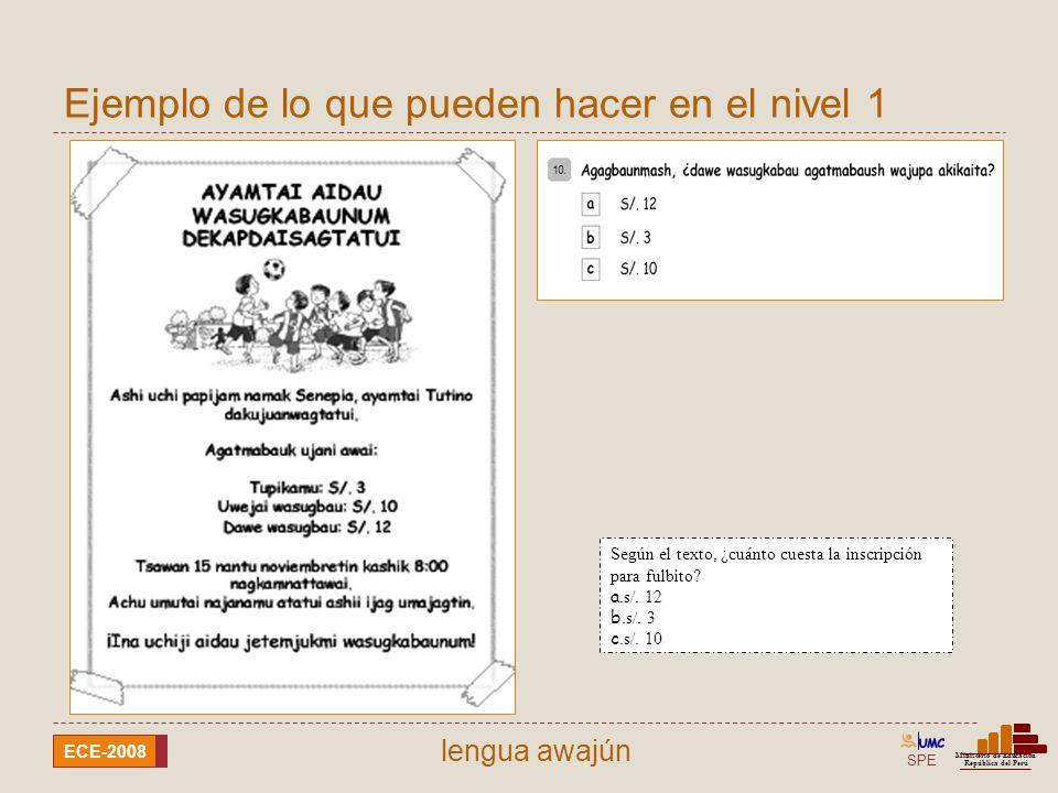 SPE Ministerio de Educación República del Perú ECE-2008 lengua awajún Según el texto, ¿cuánto cuesta la inscripción para fulbito? a.s/. 12 b.s/. 3 c.s