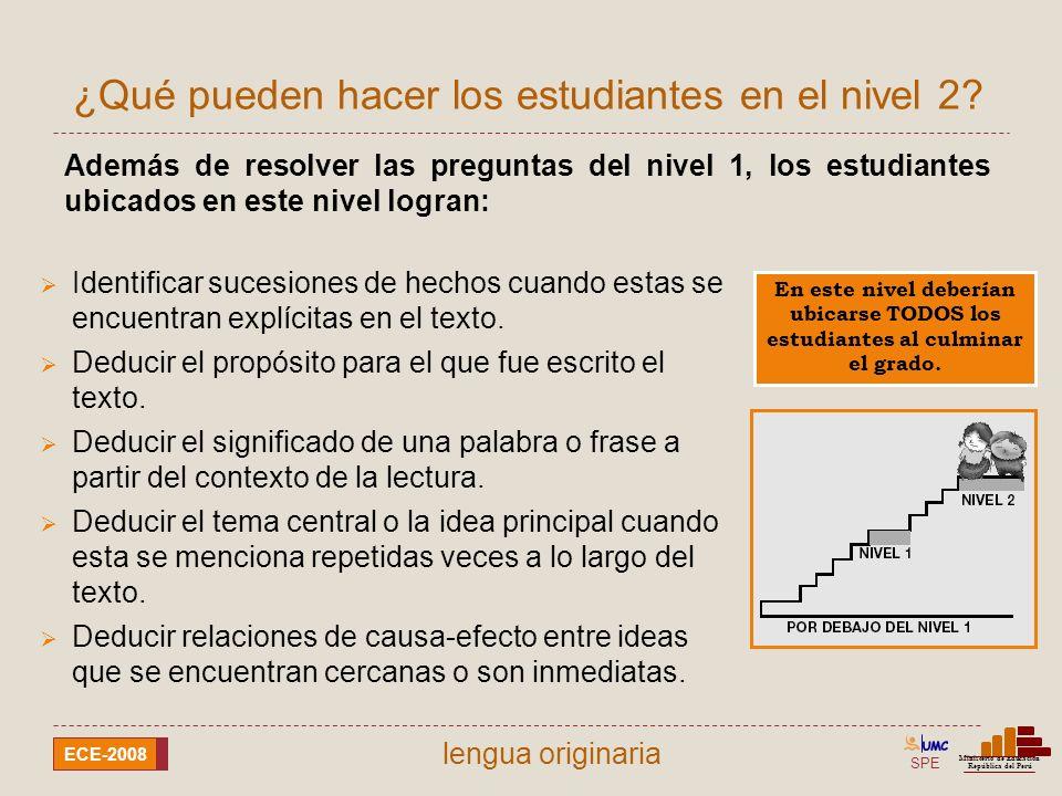 SPE Ministerio de Educación República del Perú ECE-2008 lengua quechua Ejemplo de lo que pueden hacer en el nivel 2 ¿ Por qu é el bote empez ó a hundirse en el r í o.