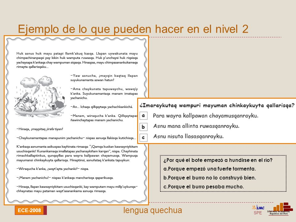 SPE Ministerio de Educación República del Perú ECE-2008 lengua quechua Ejemplo de lo que pueden hacer en el nivel 2 ¿ Por qu é el bote empez ó a hundi