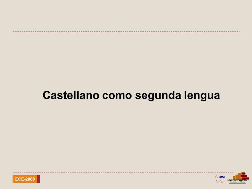 SPE Ministerio de Educación República del Perú ECE-2008 castellano como segunda lengua Localizar información escrita en partes del texto que se pueden ubicar fácilmente.