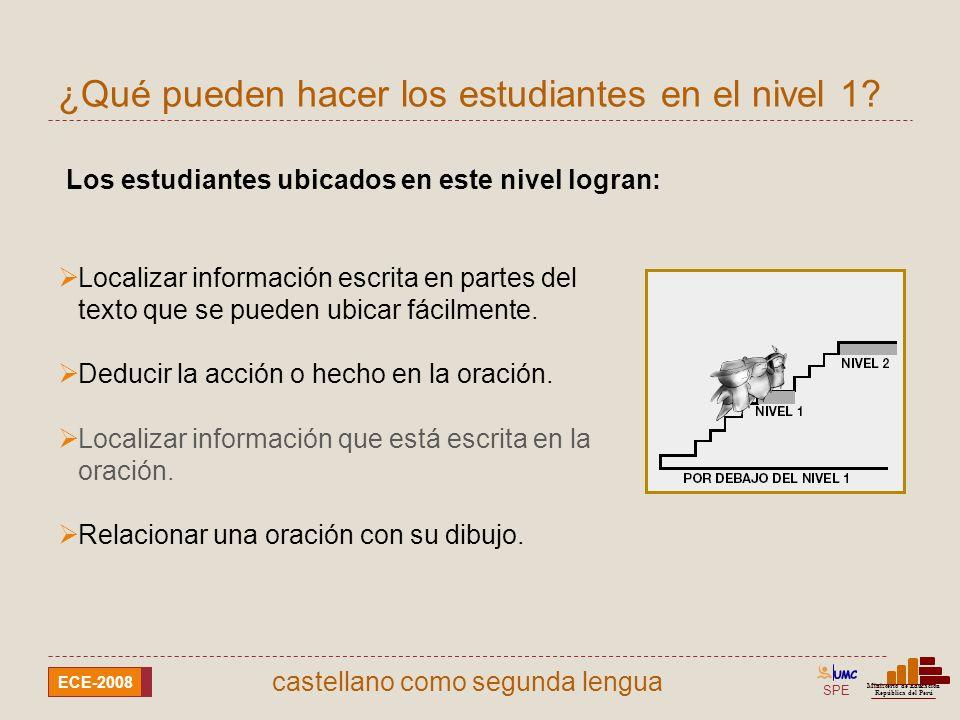 SPE Ministerio de Educación República del Perú ECE-2008 castellano como segunda lengua Localizar información escrita en partes del texto que se pueden