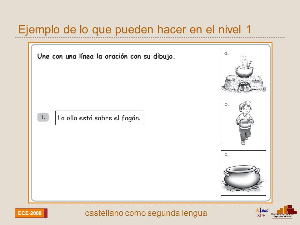 SPE Ministerio de Educación República del Perú ECE-2008 castellano como segunda lengua Ejemplo de lo que pueden hacer en el nivel 1