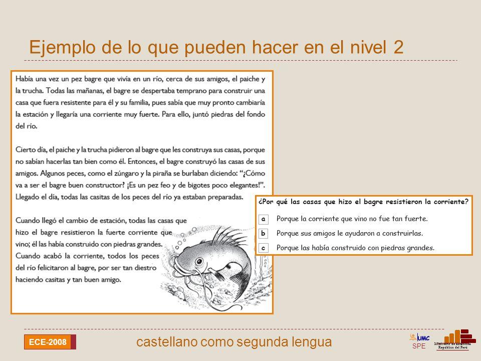SPE Ministerio de Educación República del Perú ECE-2008 castellano como segunda lengua Ejemplo de lo que pueden hacer en el nivel 2