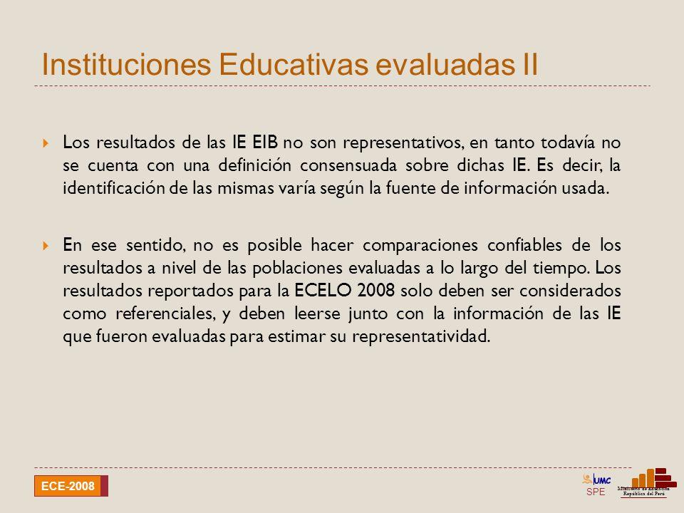 SPE Ministerio de Educación República del Perú ECE-2008 Instituciones Educativas evaluadas II Los resultados de las IE EIB no son representativos, en