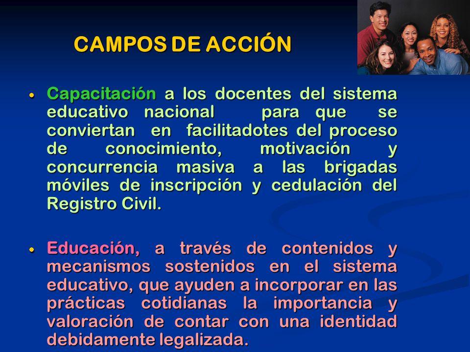 CAMPOS DE ACCIÓN Capacitación a los docentes del sistema educativo nacional para que se conviertan en facilitadotes del proceso de conocimiento, motiv