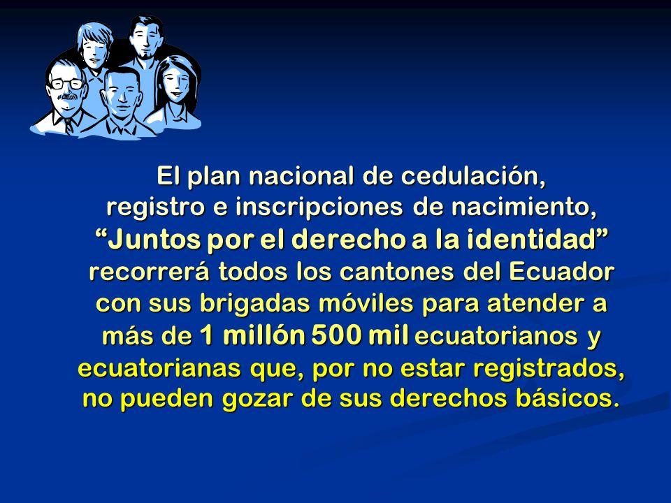 El plan nacional de cedulación, registro e inscripciones de nacimiento, Juntos por el derecho a la identidad recorrerá todos los cantones del Ecuador