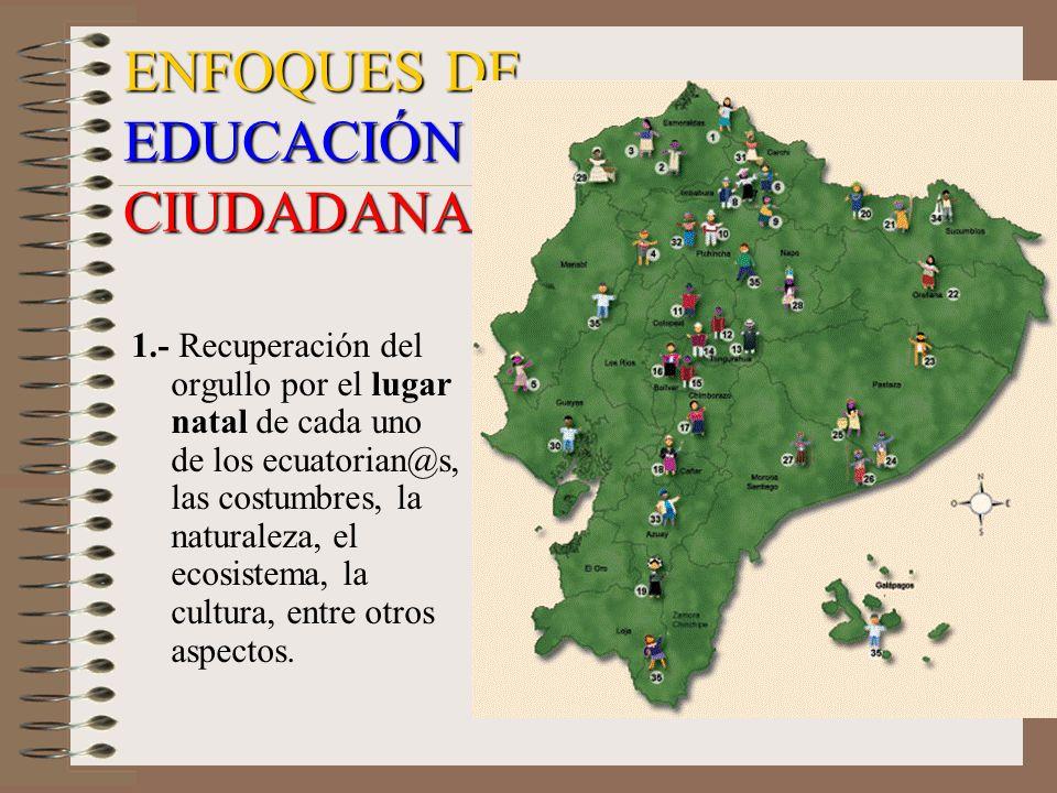 1.- Recuperación del orgullo por el lugar natal de cada uno de los ecuatorian@s, las costumbres, la naturaleza, el ecosistema, la cultura, entre otros