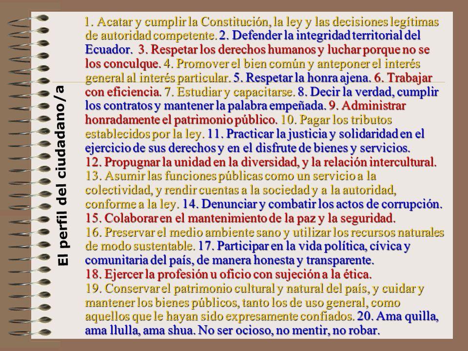 1. Acatar y cumplir la Constitución, la ley y las decisiones legítimas de autoridad competente. 2. Defender la integridad territorial del Ecuador. 3.