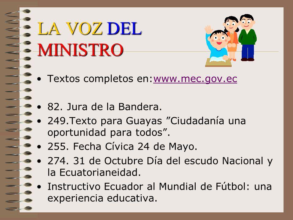LA VOZ DEL MINISTRO Textos completos en:www.mec.gov.ecwww.mec.gov.ec 82. Jura de la Bandera. 249.Texto para Guayas Ciudadanía una oportunidad para tod