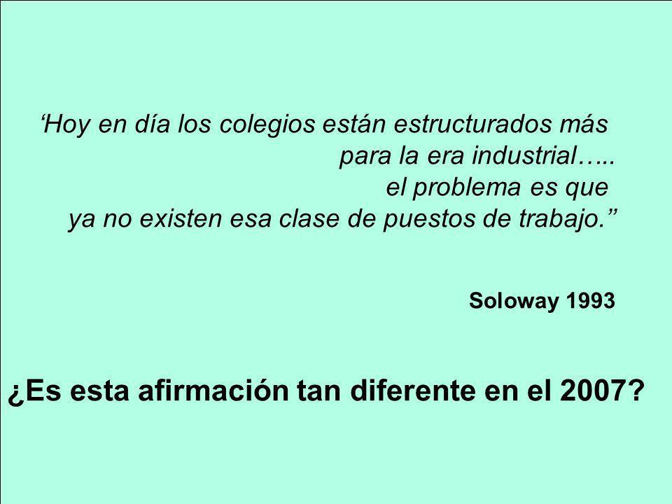 Hoy en día los colegios están estructurados más para la era industrial….. el problema es que ya no existen esa clase de puestos de trabajo. Soloway 19