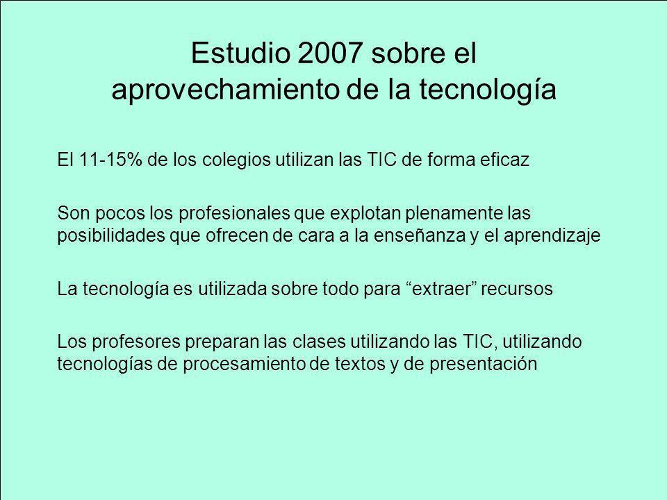Estudio 2007 sobre el aprovechamiento de la tecnología El 11-15% de los colegios utilizan las TIC de forma eficaz Son pocos los profesionales que expl