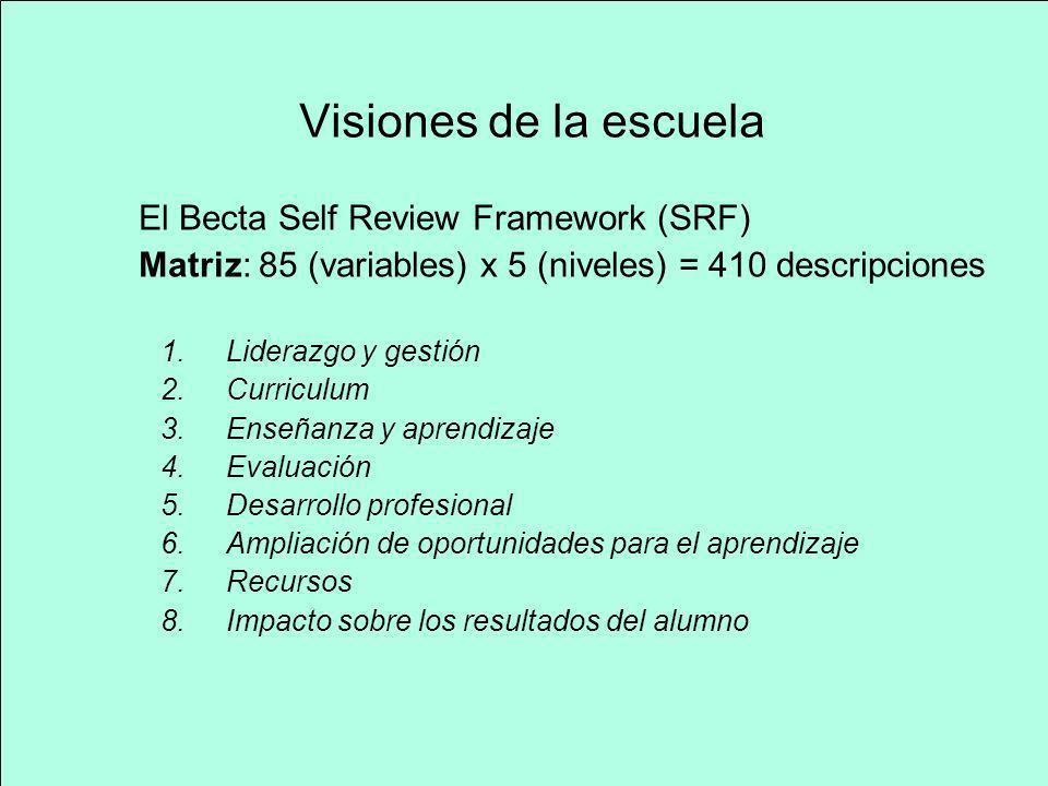 Visiones de la escuela El Becta Self Review Framework (SRF) Matriz: 85 (variables) x 5 (niveles) = 410 descripciones 1.Liderazgo y gestión 2.Curriculu