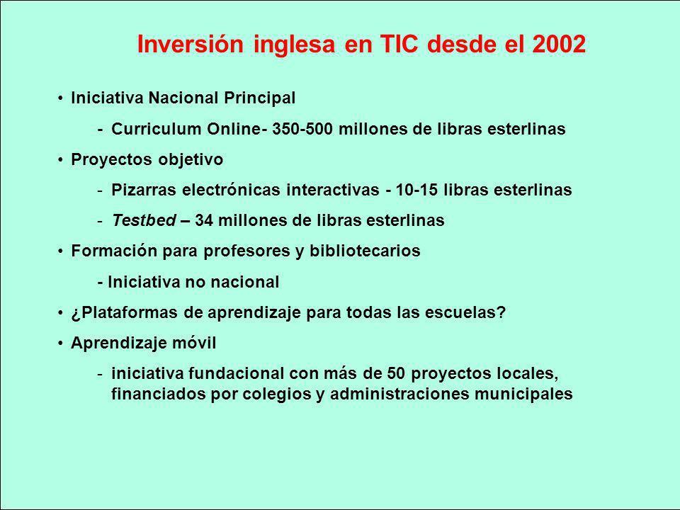 Inversión inglesa en TIC desde el 2002 Iniciativa Nacional Principal - Curriculum Online- 350-500 millones de libras esterlinas Proyectos objetivo -Pi