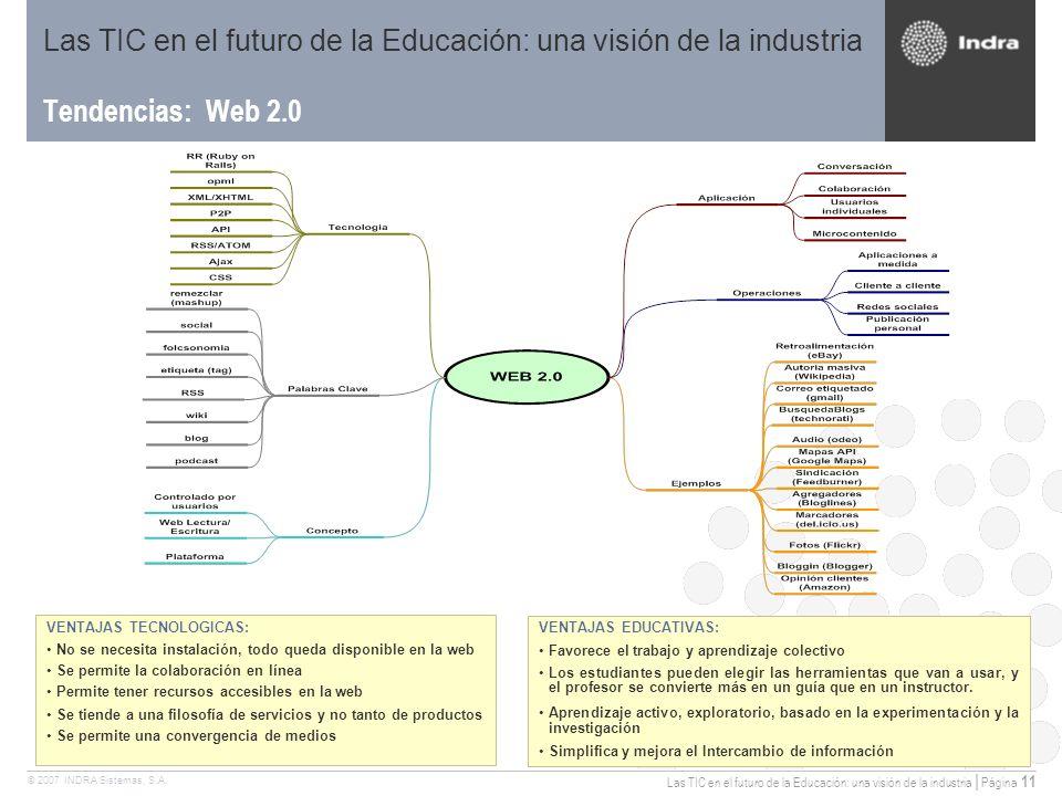 Las TIC en el futuro de la Educación: una visión de la industria | Página 11 © 2007 INDRA Sistemas, S.A.