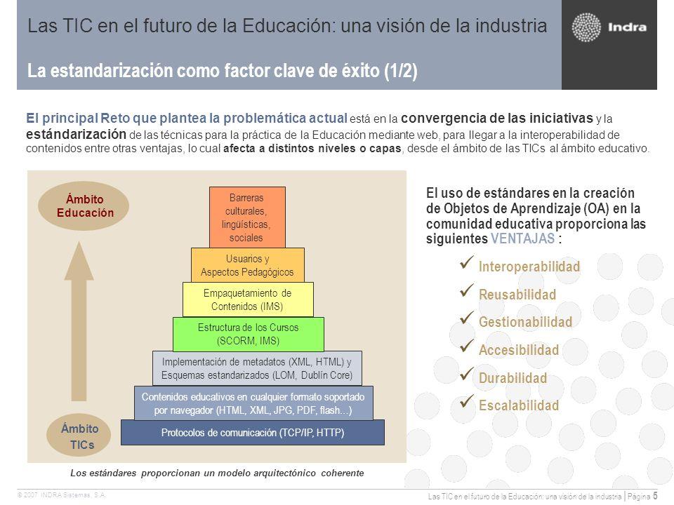 Las TIC en el futuro de la Educación: una visión de la industria | Página 5 © 2007 INDRA Sistemas, S.A.