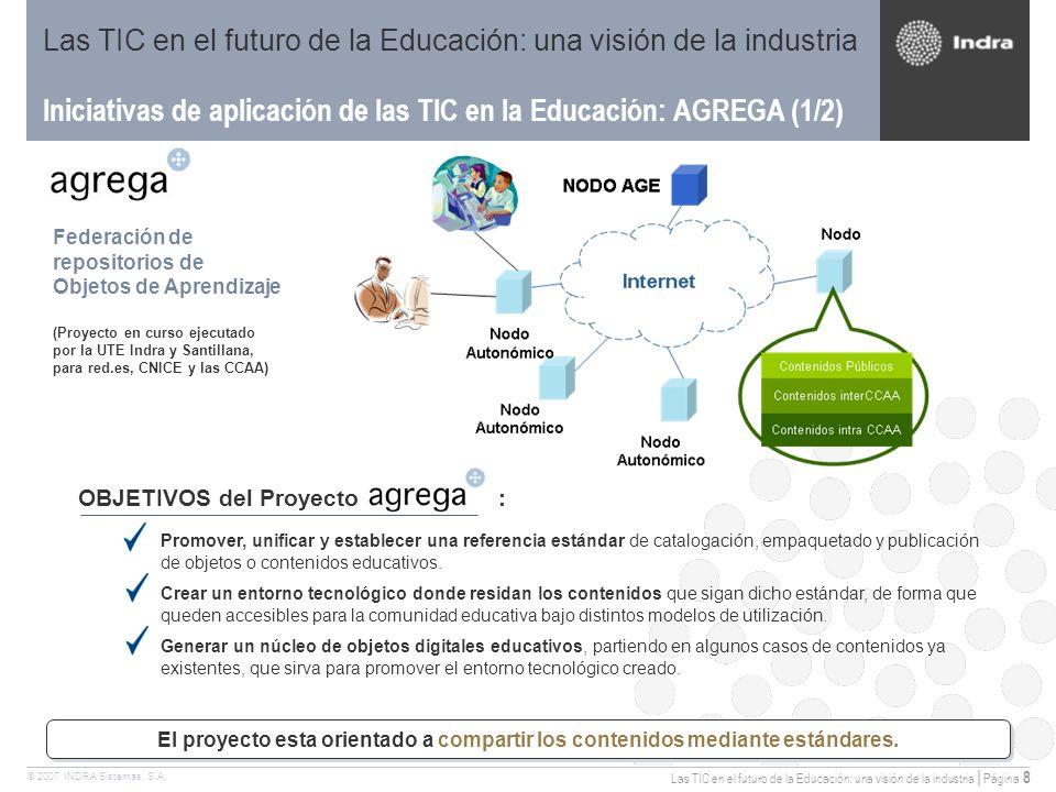 Las TIC en el futuro de la Educación: una visión de la industria | Página 8 © 2007 INDRA Sistemas, S.A.