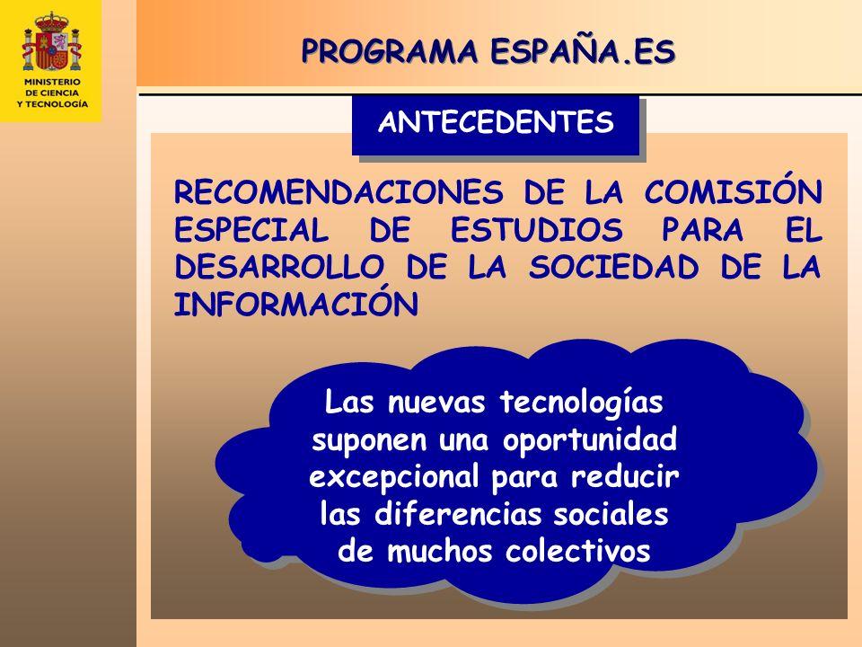 * Excepto Educación.es y Patrimonio.es, que extienden su plazo de ejecución hasta el 2006 y 2008 respectivamente TOTAL 1.029 M ACTUACIONES DE CARÁCTER VERTICAL educación.es administración.es pyme.es I I II III 180 M249 M132 M553 M ACTUACIONES DE CARÁCTER HORIZONTAL navega.es IV contenidos.es V V comunicación.es VI 240 M 220 M 16 M 476 M España.es Las líneas maestras del Programa de Actuaciones 2004 – 2005*