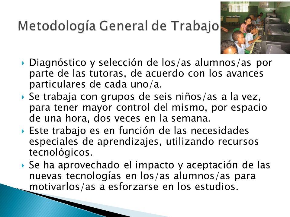 Diagnóstico y selección de los/as alumnos/as por parte de las tutoras, de acuerdo con los avances particulares de cada uno/a. Se trabaja con grupos de