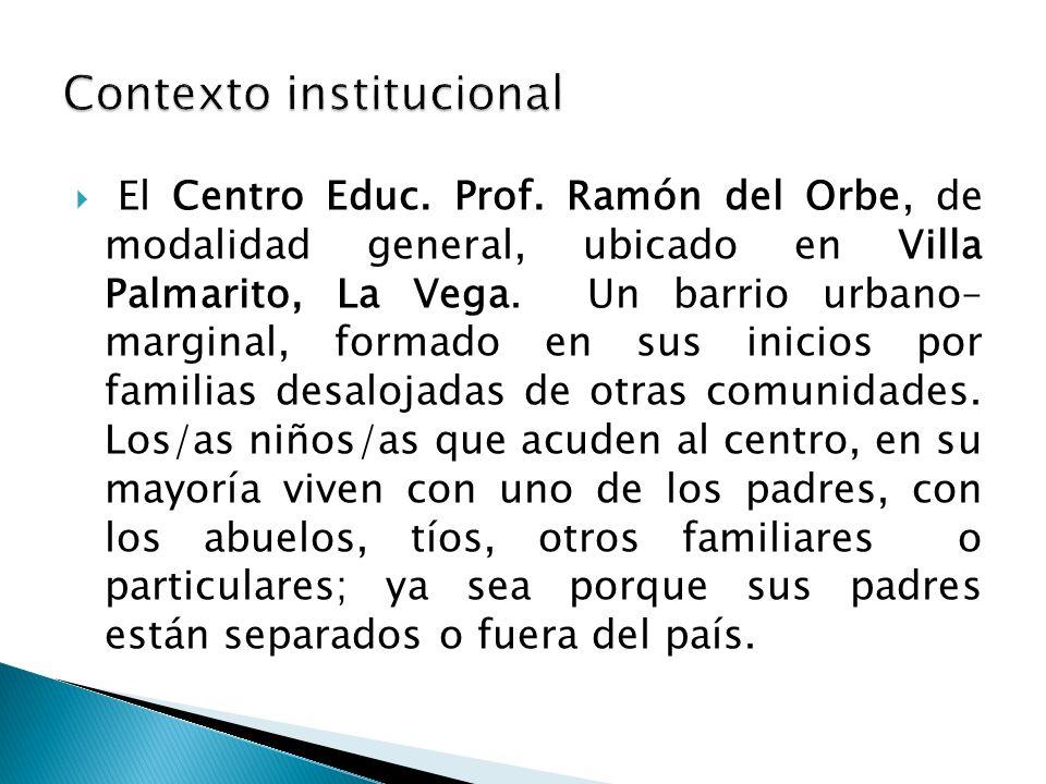 El Centro Educ. Prof. Ramón del Orbe, de modalidad general, ubicado en Villa Palmarito, La Vega. Un barrio urbano– marginal, formado en sus inicios po