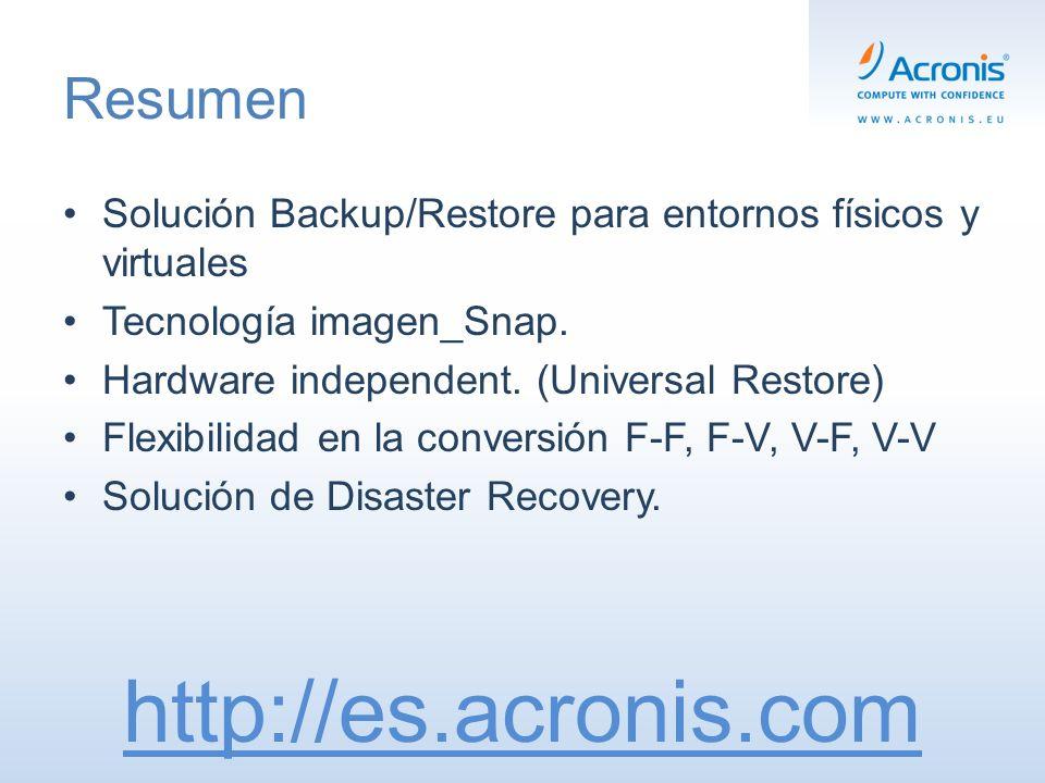 Resumen Solución Backup/Restore para entornos físicos y virtuales Tecnología imagen_Snap.