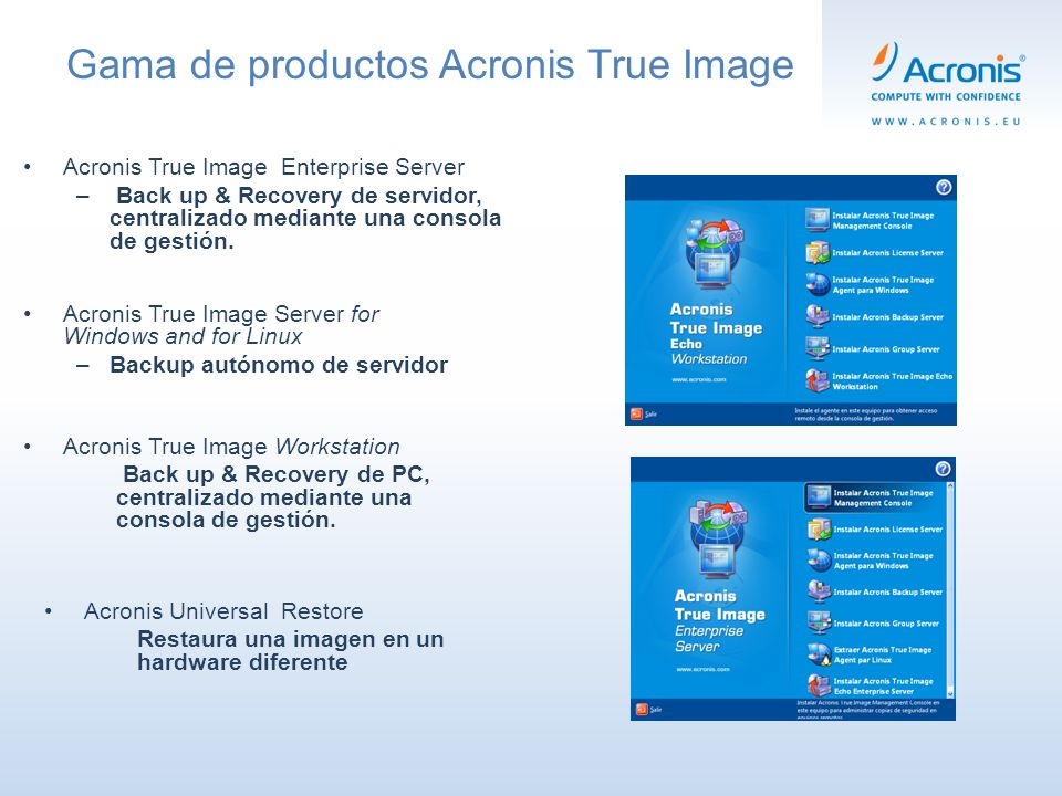 Acronis True Image Workstation Back up & Recovery de PC, centralizado mediante una consola de gestión.