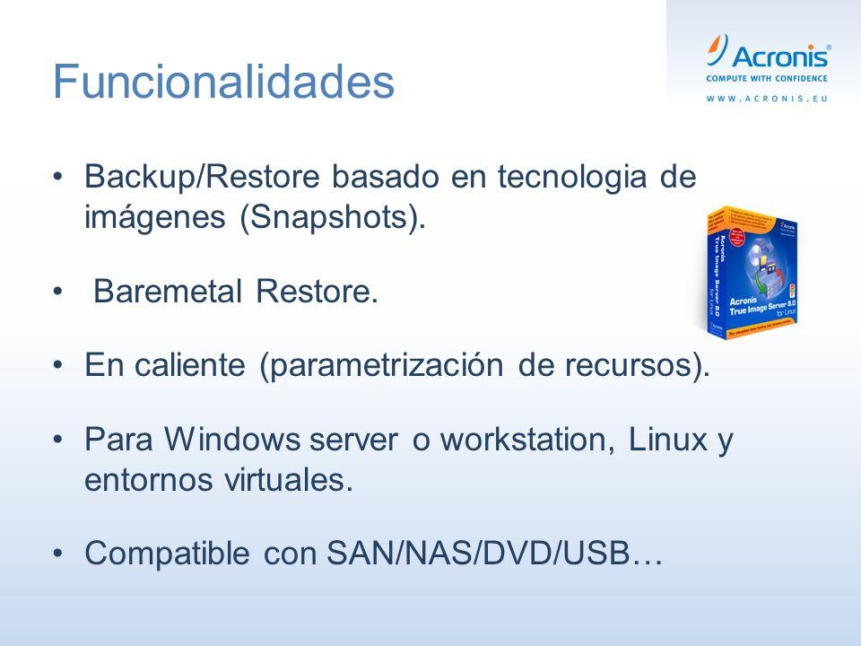 Acronis True Image echo Server Copia/Restaura un sistema entero en caso de desastre (imagen) Copia/Restaura archivos y carpetas individuales (imagen) Copias on-line consumiendo muy pocos recursos Copias en: NAS, SAN, discos USB, CD-R(W), DVD-RW, DVD+R(W) Acronis ® Recovery for Microsoft Exchange y SQL (Opcional) Windows server, Windows Small Business Server Linux: Ubuntu, Red Hat, SuSE Linux, Mandriva Linux Citrix ® XenServer, VMware ®, Microsoft ® y Parallels Solución de copias de seguridad para servidores Windows, Linux y entornos virtuales