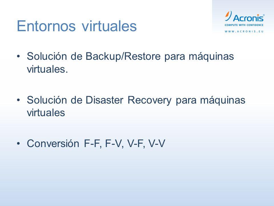 Entornos virtuales Solución de Backup/Restore para máquinas virtuales.