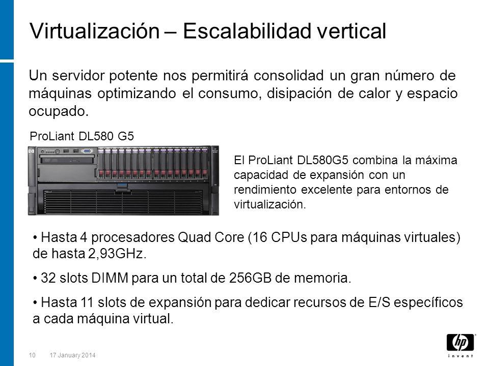 1017 January 2014 Virtualización – Escalabilidad vertical ProLiant DL580 G5 Un servidor potente nos permitirá consolidad un gran número de máquinas op