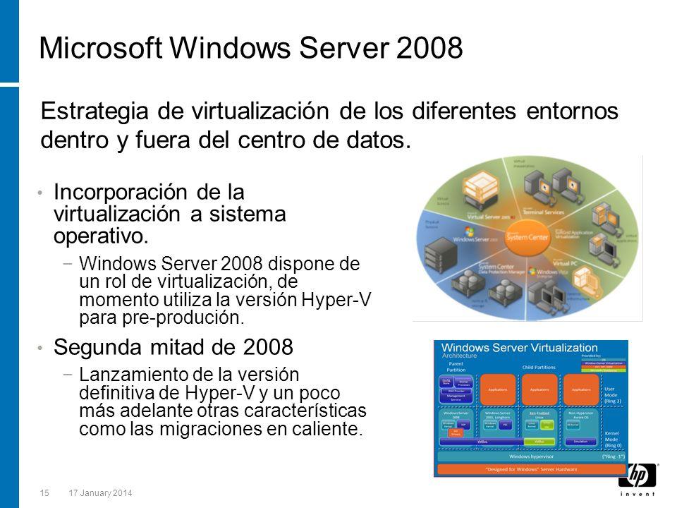 1517 January 2014 Microsoft Windows Server 2008 Incorporación de la virtualización a sistema operativo. Windows Server 2008 dispone de un rol de virtu