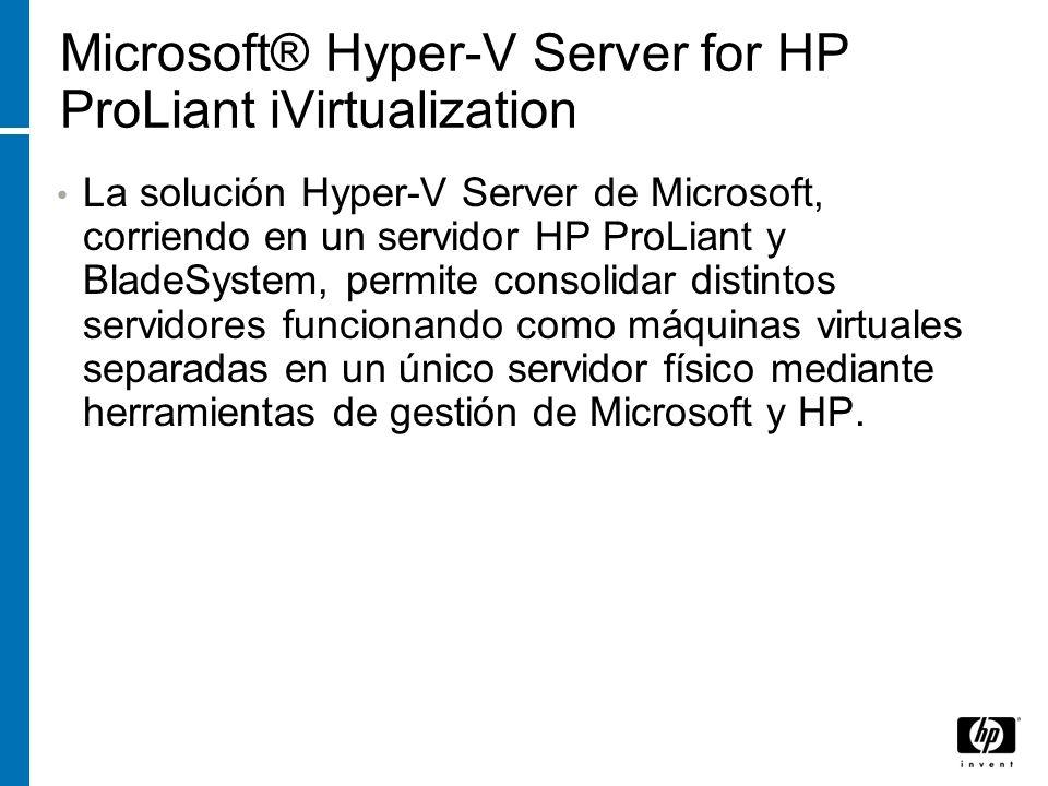 Microsoft® Hyper-V Server for HP ProLiant iVirtualization La solución Hyper-V Server de Microsoft, corriendo en un servidor HP ProLiant y BladeSystem,