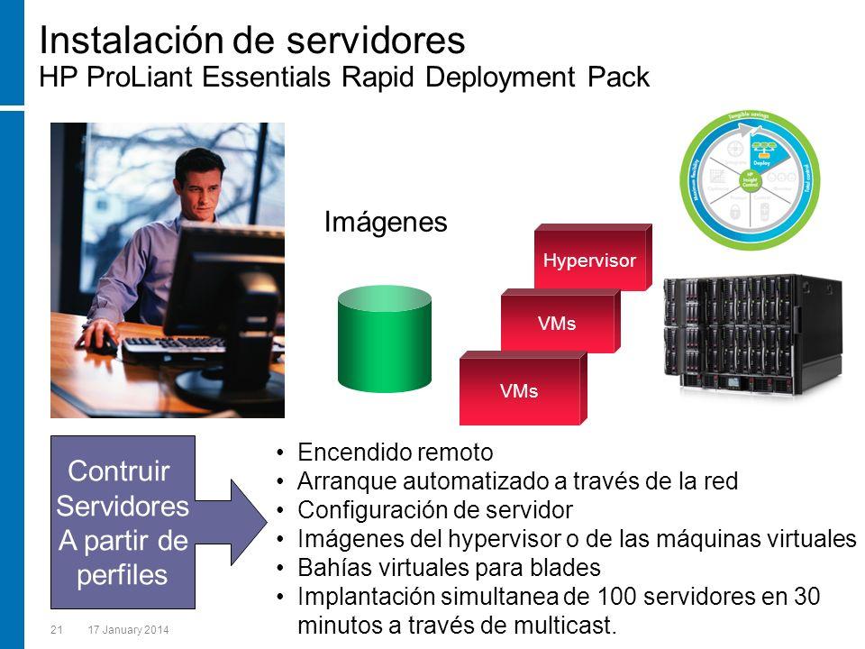 2117 January 2014 Imágenes Encendido remoto Arranque automatizado a través de la red Configuración de servidor Imágenes del hypervisor o de las máquin