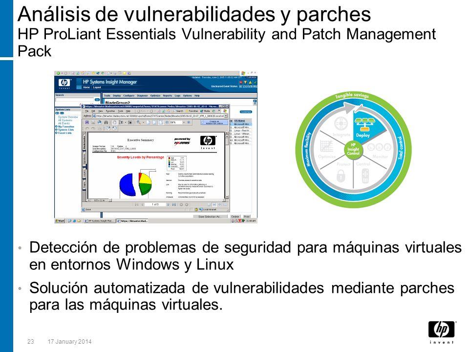 2317 January 2014 Análisis de vulnerabilidades y parches HP ProLiant Essentials Vulnerability and Patch Management Pack Detección de problemas de segu