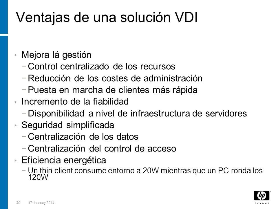 3017 January 2014 Ventajas de una solución VDI Mejora lá gestión Control centralizado de los recursos Reducción de los costes de administración Puesta