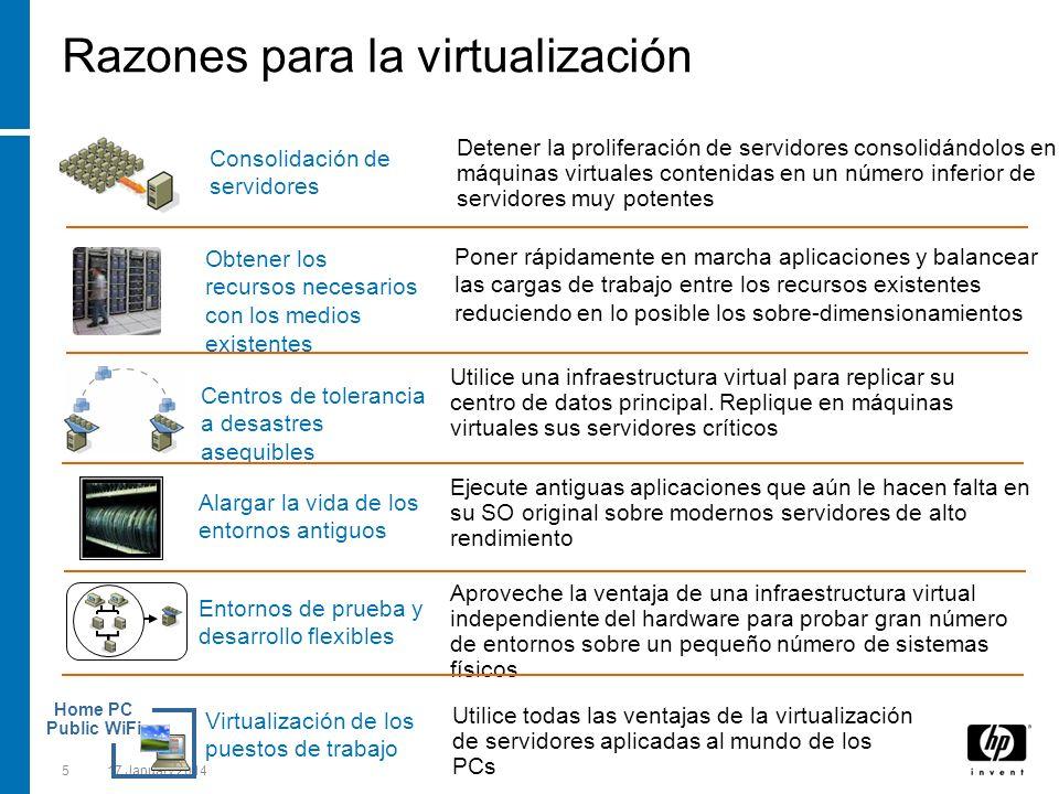 517 January 2014 Razones para la virtualización Consolidación de servidores Detener la proliferación de servidores consolidándolos en máquinas virtual