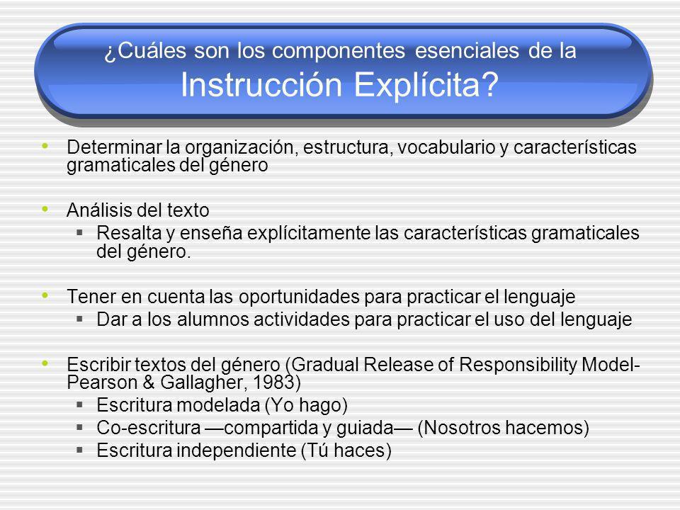 ¿Cuáles son los componentes esenciales de la Instrucción Explícita? Determinar la organización, estructura, vocabulario y características gramaticales