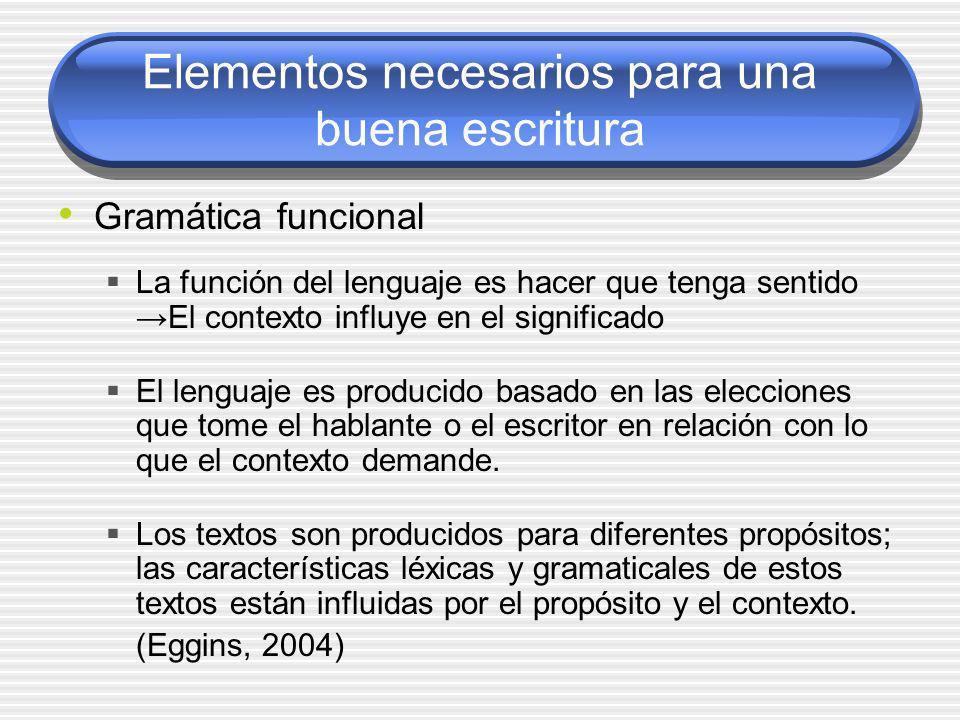 Elementos necesarios para una buena escritura Gramática funcional La función del lenguaje es hacer que tenga sentidoEl contexto influye en el signific