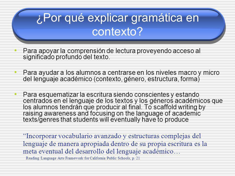 ¿Por qué explicar gramática en contexto? Para apoyar la comprensión de lectura proveyendo acceso al significado profundo del texto. Para ayudar a los